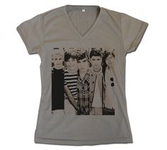 ONE DIRECTION - 1D Up All Night Cute Picture Womens V Neck Printed Grey Gray T Shirt Boy Band Fan Light and Soft Size   S,M,L. $17.99, via Etsy.