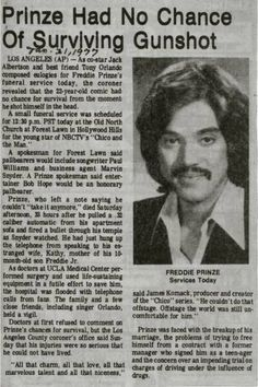 "Jan Star of the TV show ""Chico and the Man"" Freddie Prinze dies from a self-inflicted gunshot wound at age Newspaper Article, Old Newspaper, Freddie Prinze, Front Page News, Historia Universal, Newspaper Headlines, Celebrity Deaths, Drame, Thanks For The Memories"