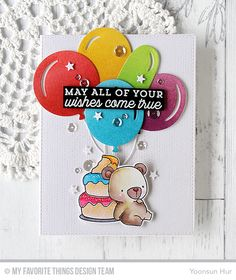 Big Birthday Balloons Die-namics, Beary Special Birthday Stamp Set and Die-namics, Scattered Surface Background, Big Birthday Sentiments Stamp Set - Yoonsun Hur  #mftstamps