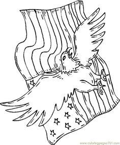 Fresh Eagle Coloring Book 59 Of july eagle flag