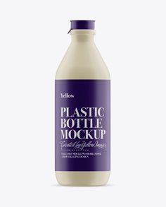 Matte Plastic Dairy Bottle Mockup – Front View Preview