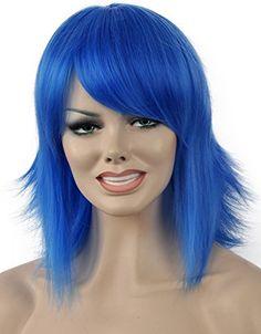Diy-Wig Cosplay Costume Short Blue Back Fluffy Full Head…