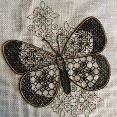 Black work Butterfly - online class with Tanja Berlin Kasuti Embroidery, Abstract Embroidery, Cross Stitch Embroidery, Embroidery Patterns, Hand Embroidery, Cross Stitch Stocking, Cross Stitch Kits, Cross Stitch Designs, Cross Stitch Patterns