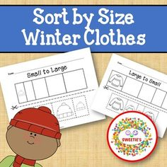 Sort by Size Activity Sheets - Color, Cut, and Paste - Winter Clothes Theme Counting Activities, Color Activities, Kindergarten Blogs, School Reviews, Learn To Count, Learning Resources, Classroom Resources, Teacher Organization, Activity Sheets