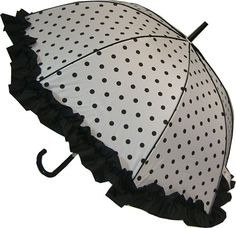 The frilly black polka dot umbrella is one of a number of frilly umbrellas and ladies parasols with polka dots on sale at Umbrella Heaven Vintage Umbrella, Black Umbrella, Sun Umbrella, Under My Umbrella, Umbrella Shop, Ladies Umbrella, Black And White Party Dresses, Brollies, Umbrellas Parasols