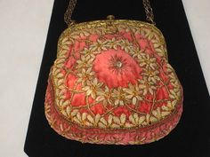 Antique French Velvet, Chenille & Ormolu Embroidered and Beaded Purse. I don't know the year this was made, but it's so incredibly gorgeous I had to pin it. Had to.