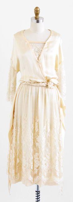 vintage 1910s wedding dress / 1920s wedding dress / Silk and