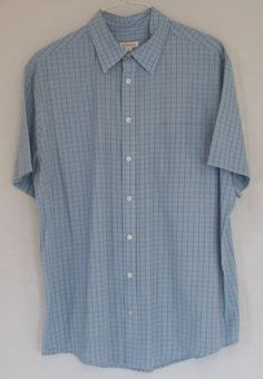 New Men's Merona XL Blue White Black Striped Button Front Short Sleeve Shirt $10.99