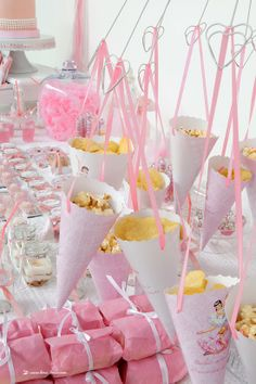 Charming details for this ballerina party -love the cones filled with pink popcorn for easy holding for girls at party.