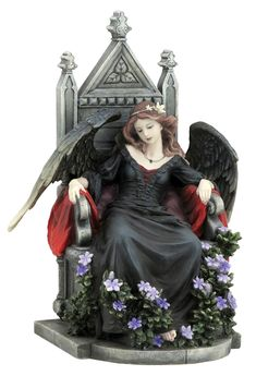 Female Gothic Angel Sitting on a Throne Fantasy Sculpture - Veronese Collection