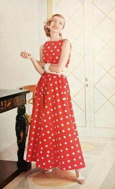 Red polka-dot dress, 1955