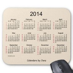 52 Week Calendar 2014 Antique White Mouse Pad Design from Calendars by Janz on zazzle...Customizable
