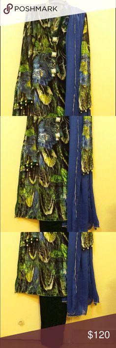 New Velvet Dress ( shalwar kameez)( cco Pretty patterned velvet shirt, solid green velvet trouser, Georgette large scarf( dupatta). Customized dress Dresses