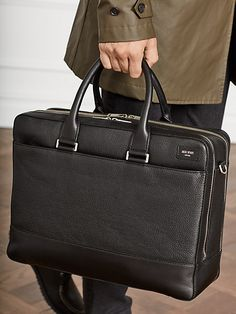 """a rich, pebbled leather ensures this overnight brief remains distinguished over time; handy details like separate compartments, a detachable shoulder strap, bridle leather handles, and a secure sleeve for any laptop up to 15"""" means you'll come out on top even on the busiest of days.   Kate Spade Pebbled Leather Overnight Brief, Black Briefcase Women, Leather Briefcase, Leather Work Bag, Leather Men, Leather Overnight Bag, Overnight Bags, My Style Bags, Work Handbag, Cheap Purses"""