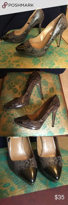 Steve Madden Snakeskin Pumps This is the perfect pair of shoes because they can act like a neutral OR a statement shoe -- it's all about how you choose to wear them! Steve Madden Shoes Heels