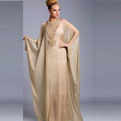 Graceful Dubai Kaftan vestido Abayas venta Champagne gasa con cuentas mangas…