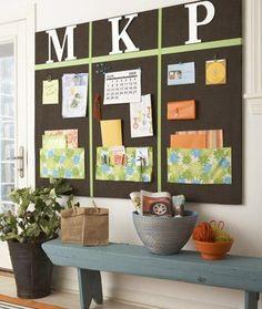 Getting Organized: Family Command Center Memo Boards, Family Bulletin Boards, Wall Boards, Pin Boards, Family Message Center, Family Command Center, Command Centers, Handmade Home, Back To School Organization
