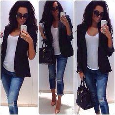 Dress jeans with heels & blazer