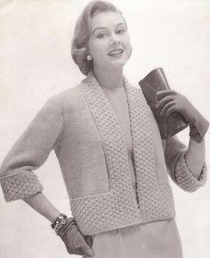 Vintage Knitted Designer Shortie Jacket Pattern