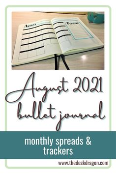 Monthly spreads & trackers for August Bujo.