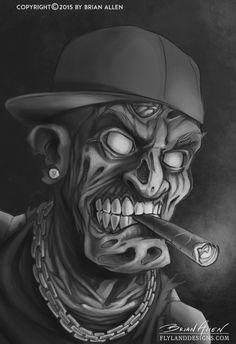 Hip-Hop Zombie Gangsta Digital Painting – Graffiti World Chicano Tattoos, Chicano Art, Skull Tattoos, Graffiti Tattoo, Graffiti Art, Evil Clown Tattoos, Og Abel Art, Arte Lowrider, Dark Art Drawings