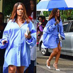 Rihanna Maison Margiela blue oversized striped shirt, Nina Ricci pointed-toe ankle-strap pumps Barbados