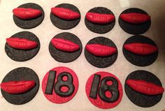 18th birthday / lip cupcake toppers