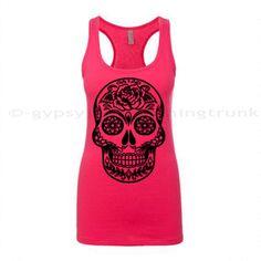 Sugar Skull Tank Top Sugar Skull Pink Skull by GypsyJunkClothing