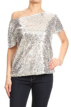 Glam Off-Shoulder Sequin Top - Silver / X-Large