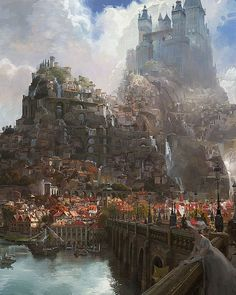 """""""Tangled"""" Castle And Marketplace Concept Art Fantasy City, Fantasy Castle, Fantasy Places, Fantasy Kunst, Medieval Fantasy, Fantasy World, Fantasy Village, Fantasy House, Medieval Castle"""