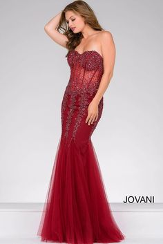 156ef35652 Jovani 5908 Strapless Corset Top Sheer Midriff Basque Waist Godet Trumpet  Skirt Mermaid Silhouette. Mermaid Prom DressesLace ...