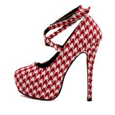 Stunning Round Closed Toe Plaid Stiletto High Heels Red PU Ankle Wrap Pumps