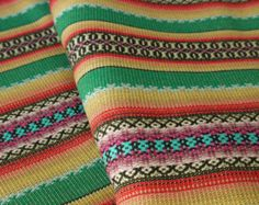 Aztec Fabric, Peruvian Fabric, Woven, Chincha Green Yellow Stripes, 1 Yard