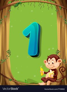 Number one with only one monkey in the tree Vector Image Numbers Preschool, Math Numbers, Preschool Activities, Number Flashcards, Flashcards For Kids, Learning English For Kids, English Worksheets For Kids, Infographic Template Powerpoint, Animal Pictures For Kids