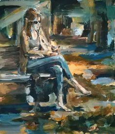Original Painting, collected artist Samuel Burton Woman in autumn Park