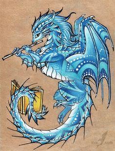 Water Dragon with flute Fantasy Kunst, Fantasy Drawings, Fantasy Artwork, Cool Drawings, Mythical Creatures Art, Fantasy Creatures, Motif Music, Cute Dragon Drawing, Dragon Artwork