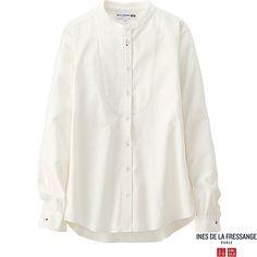 WOMEN IDLF COTTON POPLIN STAND COLLAR LONG-SLEEVE SHIRT, WHITE, large