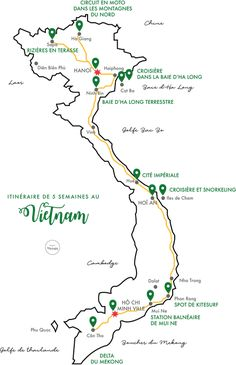 This map shows you how to get 15 unforgettable places in Southeast Asia in just .This map shows you how to reach 15 unforgettable places in Southeast Asia in just two weeks - Asia hit Vietnam Map, Vietnam Voyage, Ha Long, Travel Abroad, Asia Travel, Travel Packing, Travel Guide, Hanoi, Snorkeling