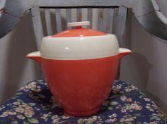 Nice Retro Orange & Cream Plastic Ice Bucket  by doyourememberwhen, $15.00