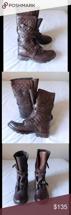 Real Leather! Brown Quilted Moto Boots W/Straps Almost New. These pair of boots are amazing and unique. Soft and comfy material. Gorgeous color and exquisite design. Size 8.0 - Negotiable Price. Steve Madden Shoes Combat & Moto Boots