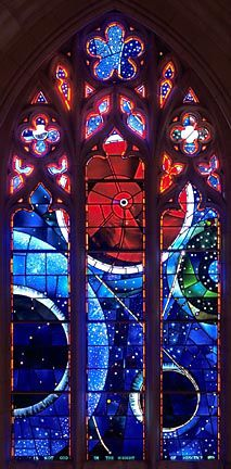 The Space Window at the National Cathedral in Washington DC.  The spot in the center of the red circle is a moon rock.