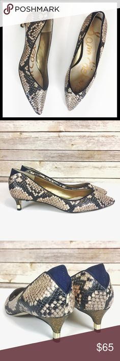 """sam edelman // python snake kitten heel pumps A kitten-heel pump is anything but bashful with its flirty, V-shaped topline and sharply pointed toe. 1.75"""" heel. Embossed python snake print leather upper with navy velvet accents. Metal accent on heel. They were a store model and may have scuffs on sole from try ons but they have never been worn and are new without box. Style name is Laura. Sam Edelman Shoes Heels"""