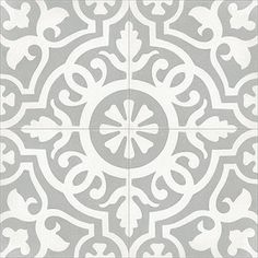 Mission Amalia B is a white pattern on a gray (gris) background. Our encaustic cement tiles are handmade and a provide a unique look for floors and walls in both commercial and residential applications. Tiles are and stocked for quick ship. Encaustic Tile, Handmade Tiles, Bathroom Flooring, Hall Bathroom, Tile Flooring, White Bathroom, Bath Remodel, Attic Remodel, Kitchen Remodel