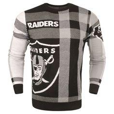 Men's Oakland Raiders Black Plaid Sweater