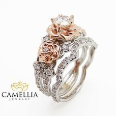 Natural Diamond Engagement Ring Set 14K Two Tone Gold Diamond Rings Floral Engagement Ring with Matching Band from camellia jewelry. Saved to Unique. #diamondring #diamondengagement #twotonegold #golddiamond #diamondringset.