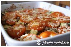 Kesäkurpitsa-jauhelihakiusaus Low Carb Recipes, Healthy Recipes, Potato Salad, Easy Meals, Potatoes, Favorite Recipes, Chicken, Meat, Vegetables