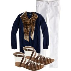 white jeans, navy sweater or tee, scarf, sandals