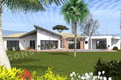 Plan de maison moderne PANDORE Casa Patio, Villa, Mansions, House Styles, Home Decor, House Blueprints, Pandora, Decoration Home, Manor Houses