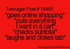 me when I online shop from Hollister, pink and Abercrombie....sigh