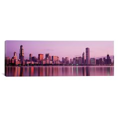 """East Urban Home Panoramic City on the Waterfront, Chicago, Illinois Photographic Print on Canvas Size: 20"""" H x 60"""" W x 1.5"""" D"""